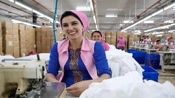 "Rosalina, 29, works in the ""Turkmenbashi Tekstil Kompleksi"" - the biggest textile factory in Central Asia. The new technologies used at the factory are said to be environmentally friendly and constitute no danger to the health of the population. Over 3 thousand people, 95 percent women, work in the textile factory."