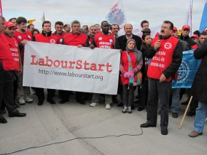 LabourStart visit to a picket in Turkey, 2011